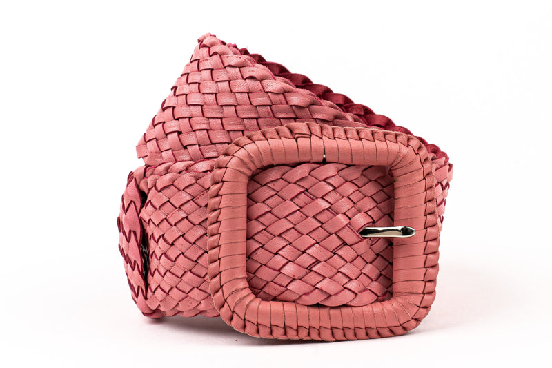 Leather Plaited Belt - Candy Pink