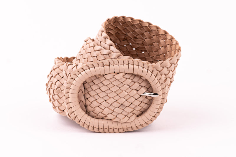 Leather Plaited Belt - Nude