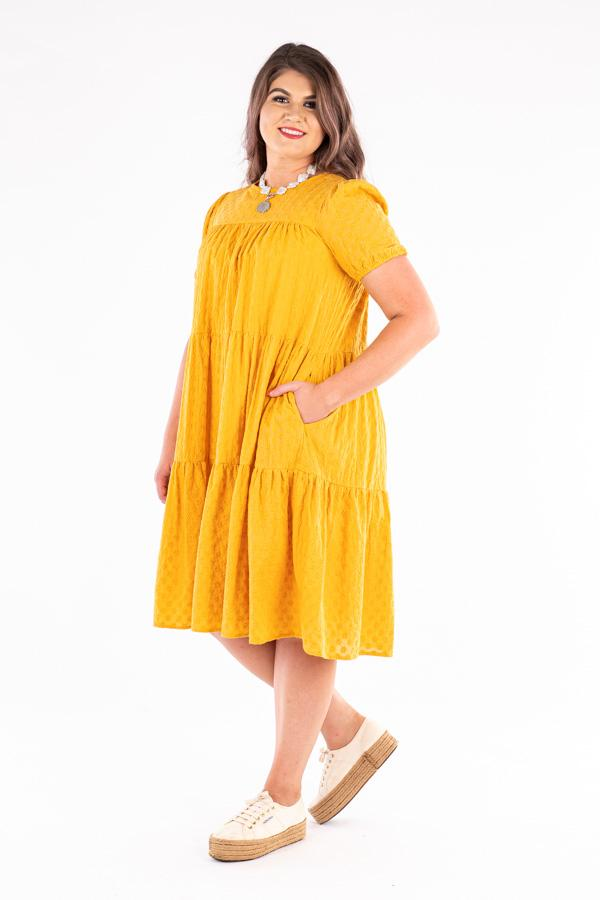 LC15-2 Mustard Broderie Tiered Cotton Dress