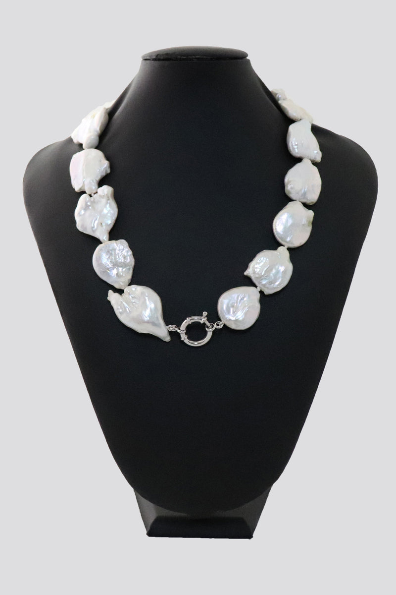 P11 Pearl Necklace Large Baroque Coin Pearls