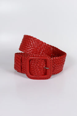 Leather Plaited Belt - Red