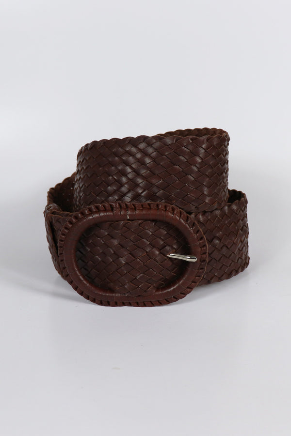 Leather Plaited Belt - Rich Brandy