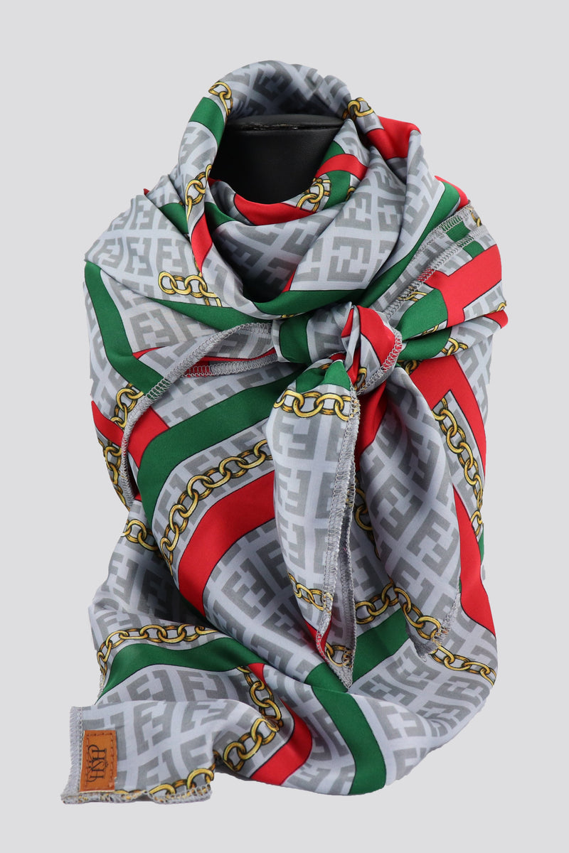 S32 Grey, Red & Green Print Scarf