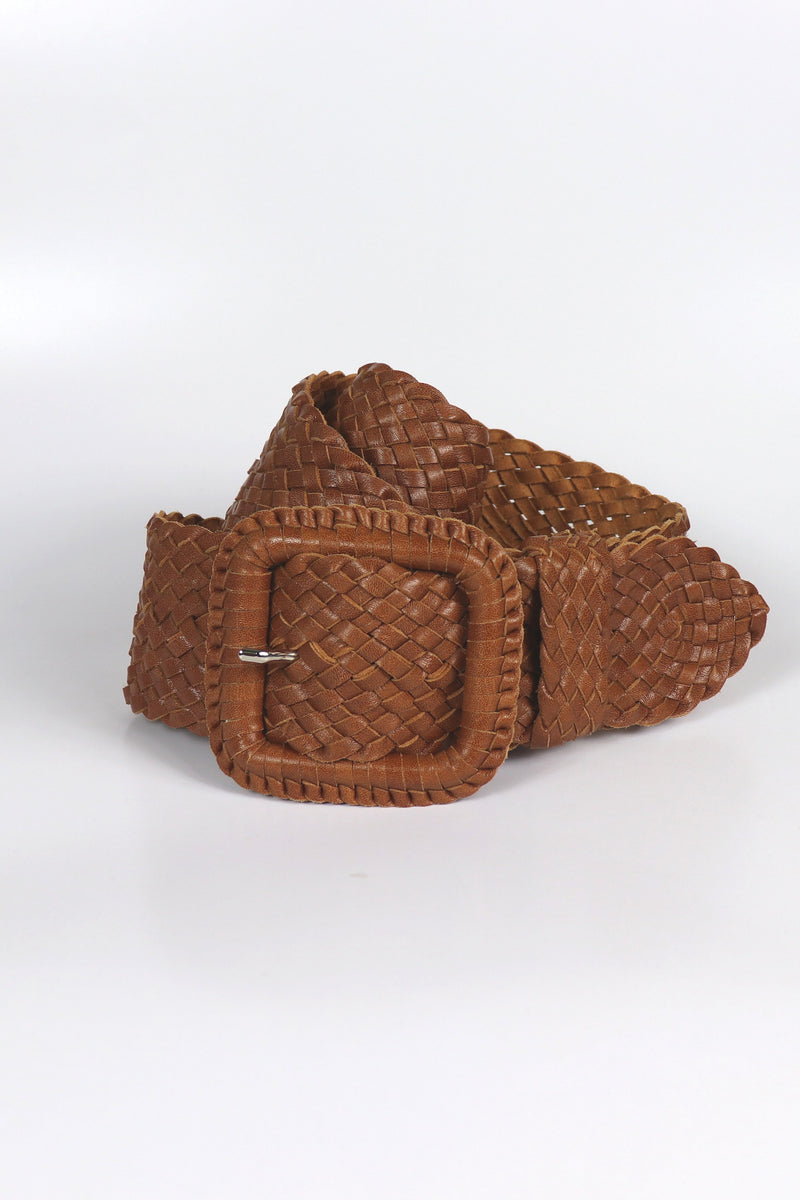 Leather Plaited Belt - Tan