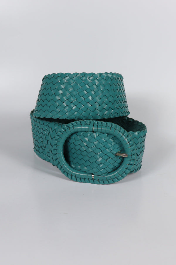 Leather Plaited Belt - Turquoise