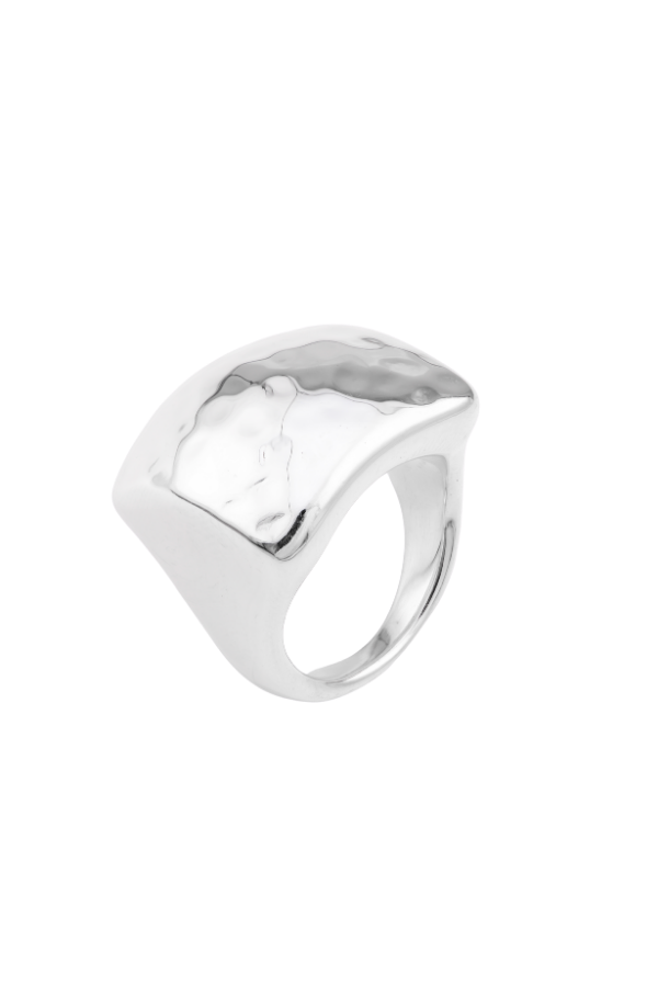 SS15 Silver Ring (Square Hammered)