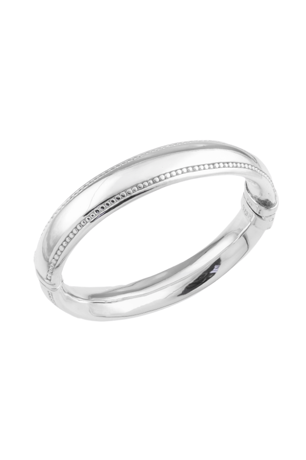 SS26 Bead Edge Hinged Bangle
