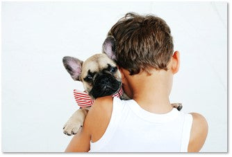 Penny Lou UK Blog   Bond with Your Dog - Young Boy Cuddling a French Bulldog