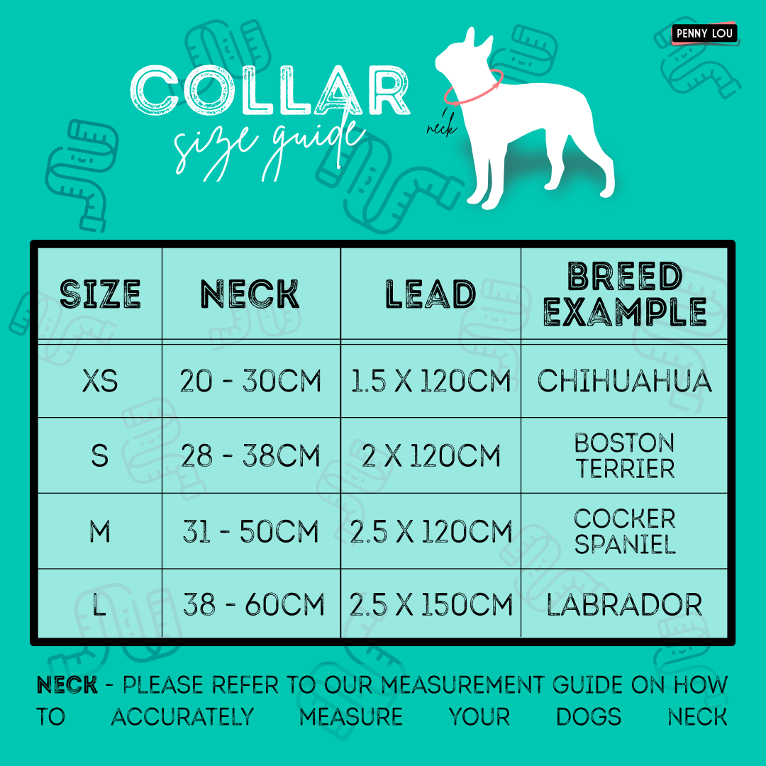 Penny Lou UK - Funky Dog Collars Leads and Accessories | Dog Collar Sizing Guide