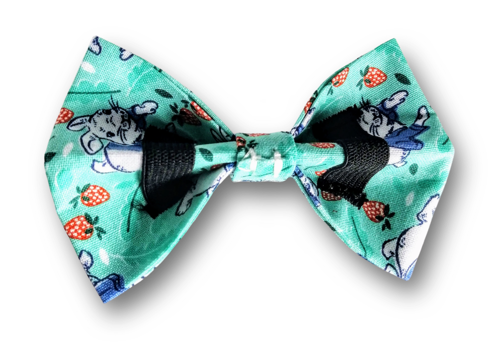 Penny Lou UK - Funky Dog Collars, Leads and Accessories | Peter Rabbit Print Bowtie for Dog Collar