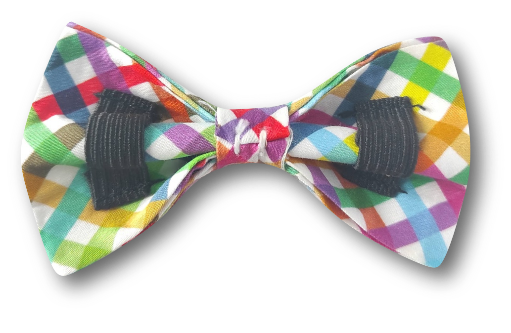 Penny Lou UK - Funky Dog Collars, Leads and Accessories | Rainbow Checked Print Bow Tie for Dog Collars