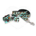 Blue Leopard Print Collar and Lead Set