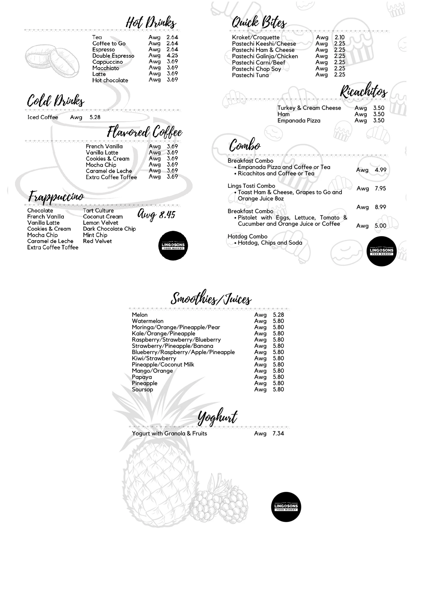Coffee Corner Menu