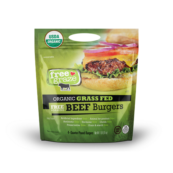 Free Graze Organic Grass Fed Beef Patties 1 lb