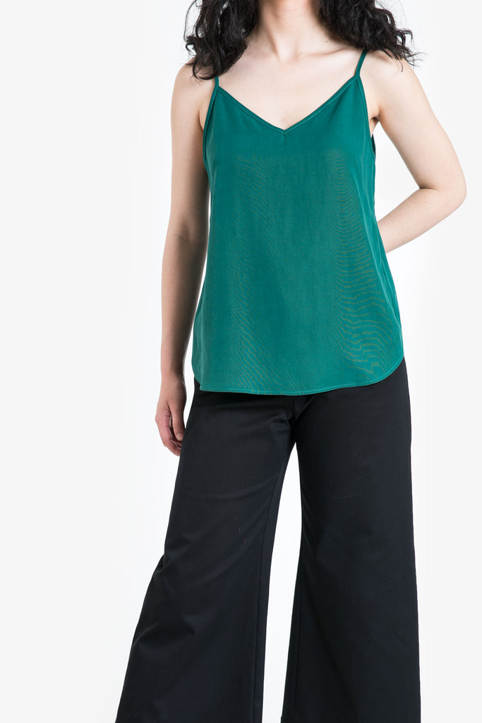 A jade green camisole in a linen blend