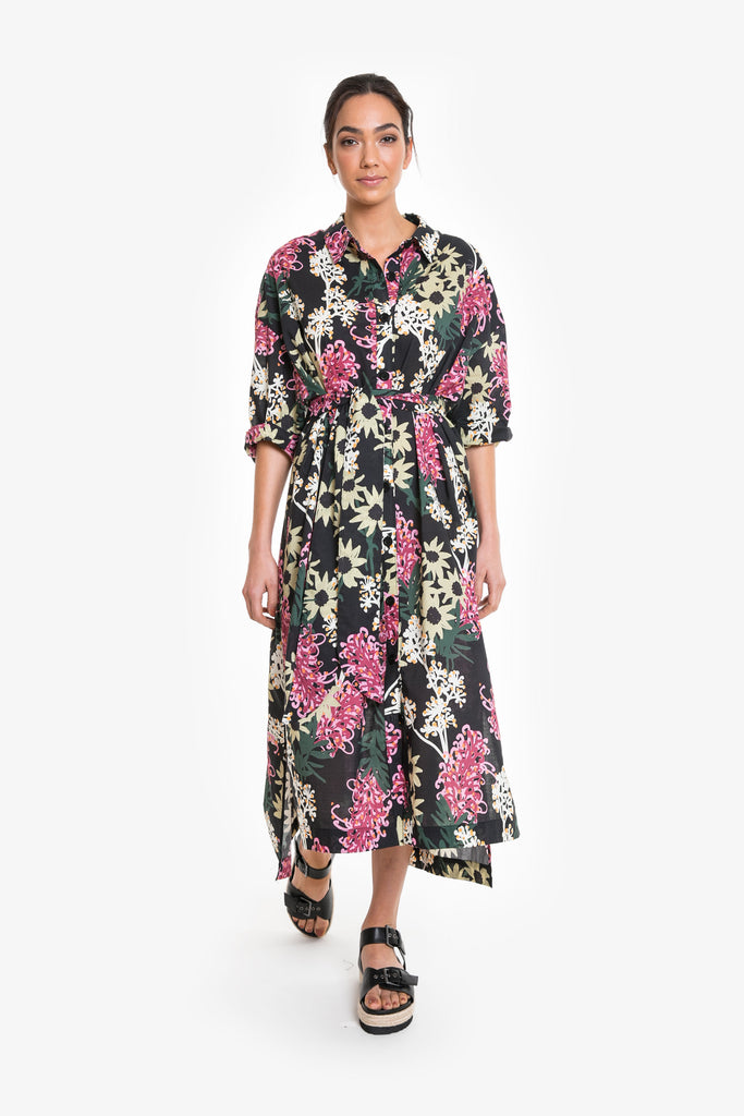 A full-length maxi shirt dress in a signature Obus large floral print