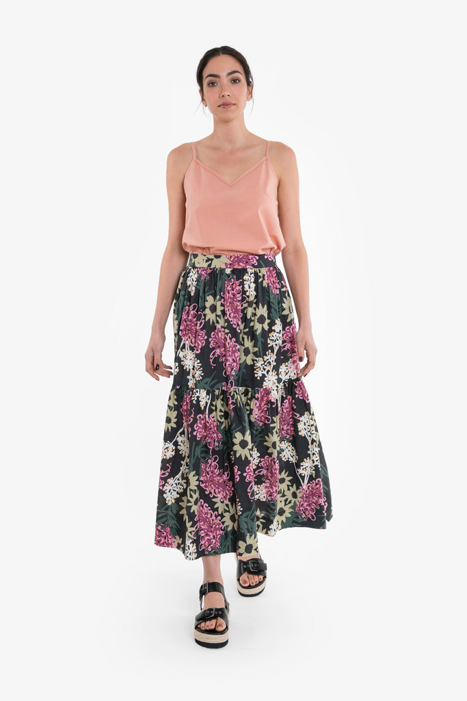 A full-length maxi skirt with frill, in a signature Obus large floral print