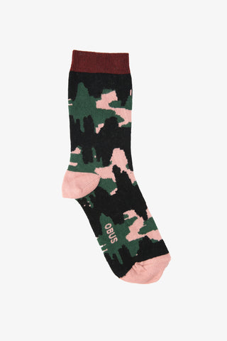 OBUS women's cotton sock with a pink, green and black hand drawn motif.