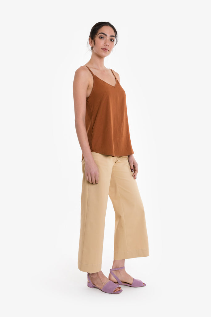 A classic camisole in burnt orange linen blend