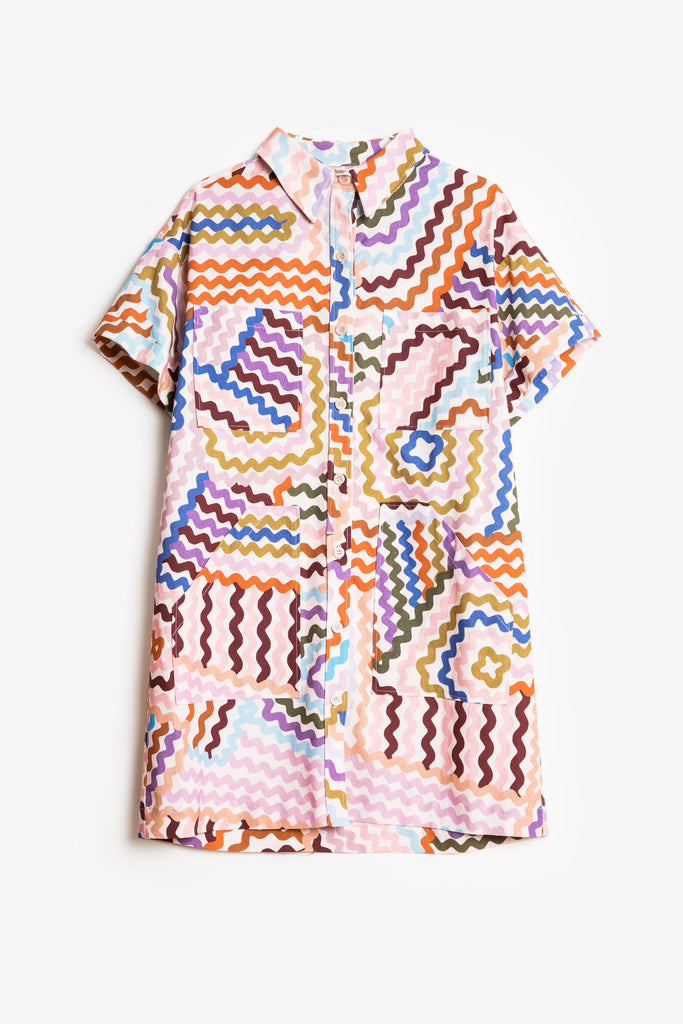 Good Vibrations Shirt Dress