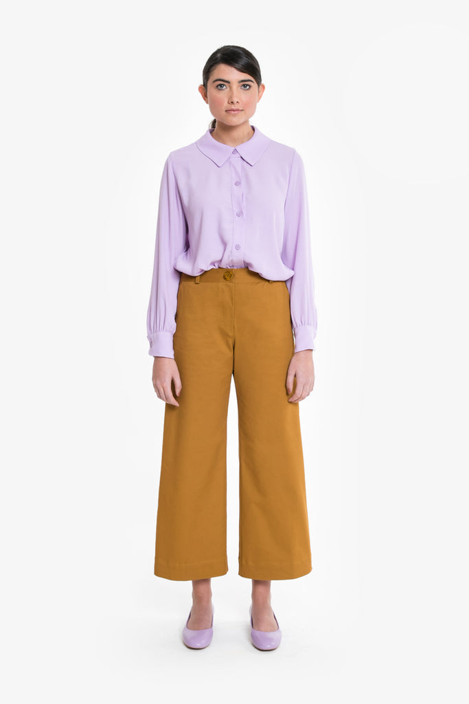 A wide leg jean in mustard cotton drill by obus