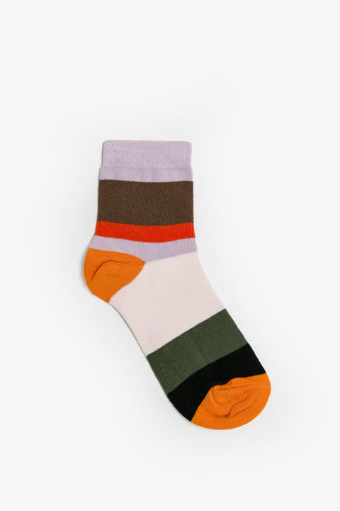 Obus stripe pattern cotton sock