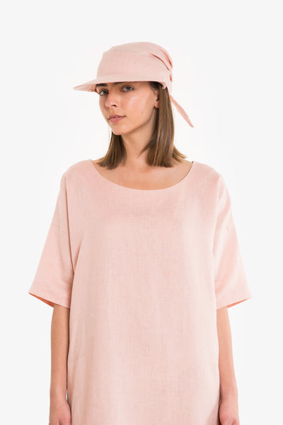 Pink linen sun hat/cap with a tie back