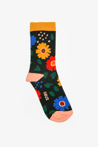 A brightly coloured womens sock with a floral print. Suits shoe sizes 6-10.