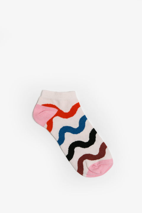 Obus wavy stripe pattern cotton sock