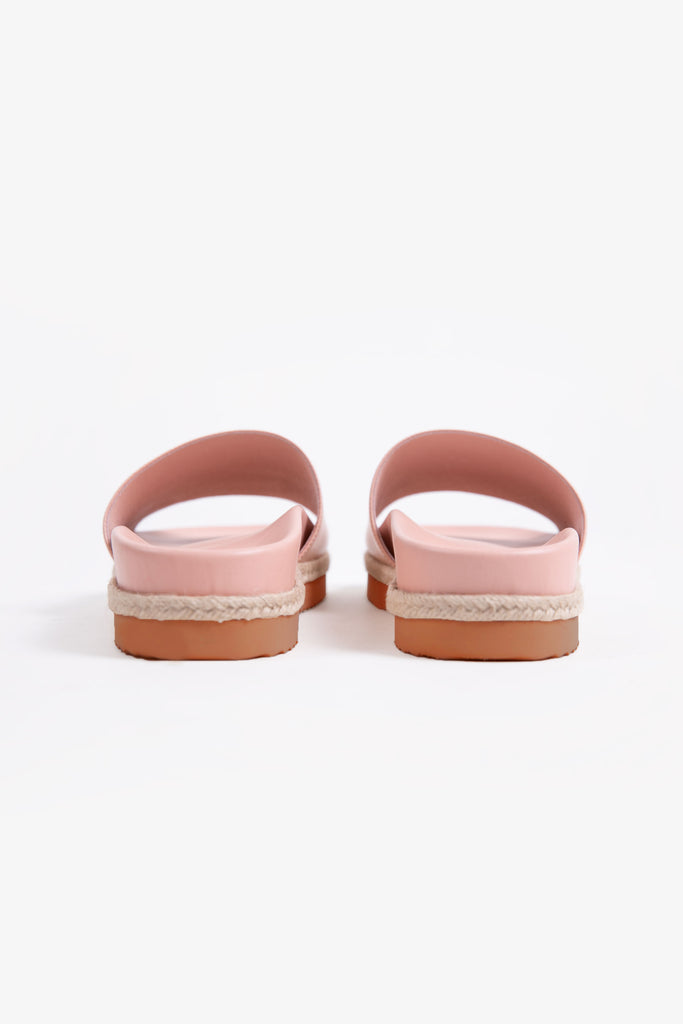 Pink leather pool slide with espadrille sole