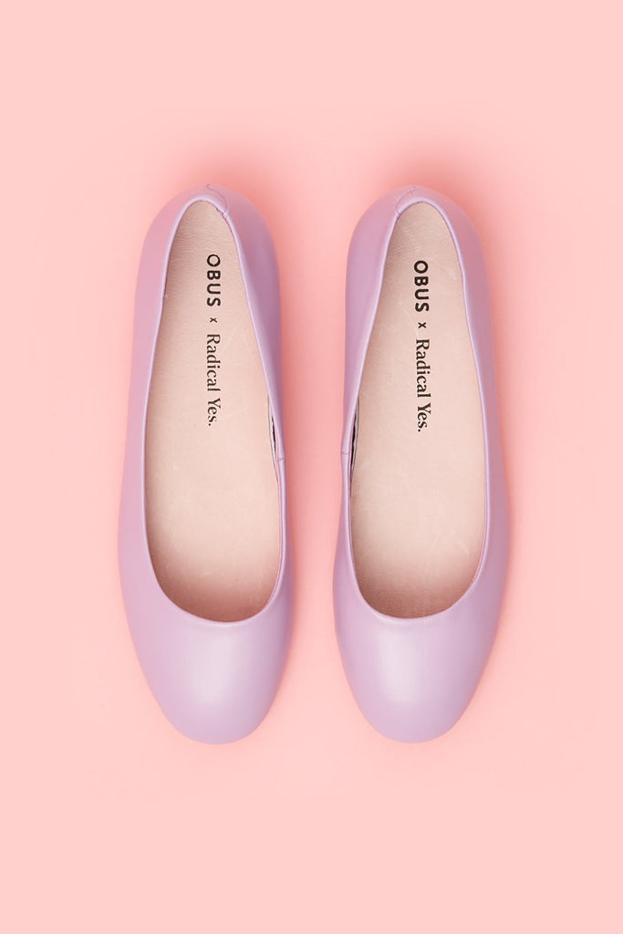 Obus x Radical Yes collaboration Little and Often slip-on shoe in lilac