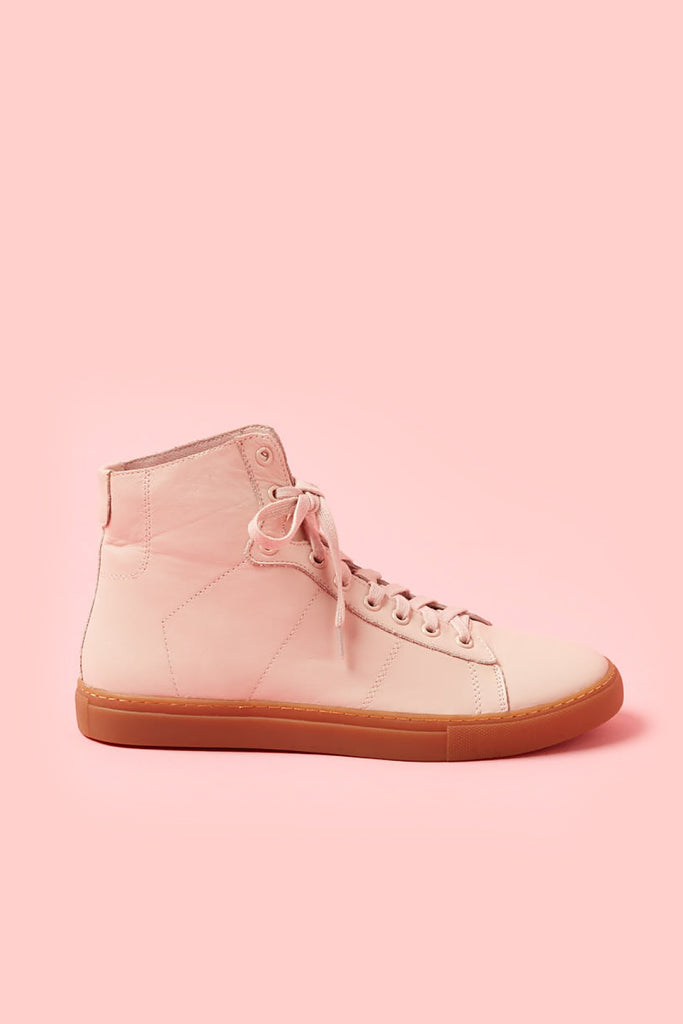 Obus x Radical Yes collaboration pink high-tops