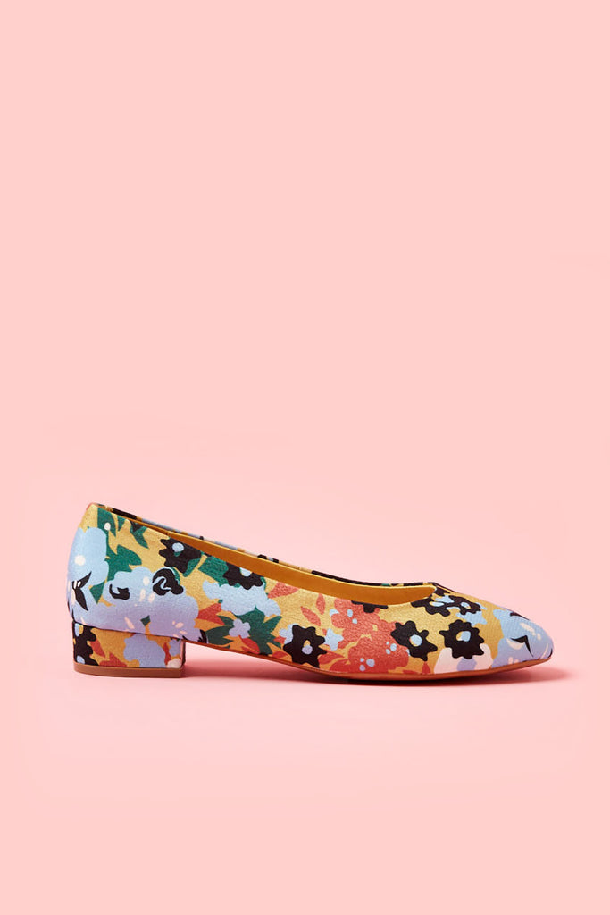 Obus x Radical Yes collaboration Little and Often slip-on shoe with flowers