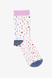 OBUS women's cotton sock, white with small colourful polkadots in lilac, brown, beige, blue and orange