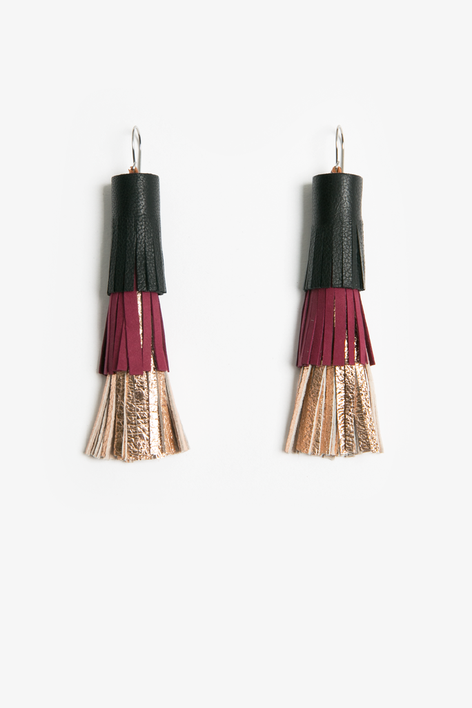 Spiritfire leather tassel earrings