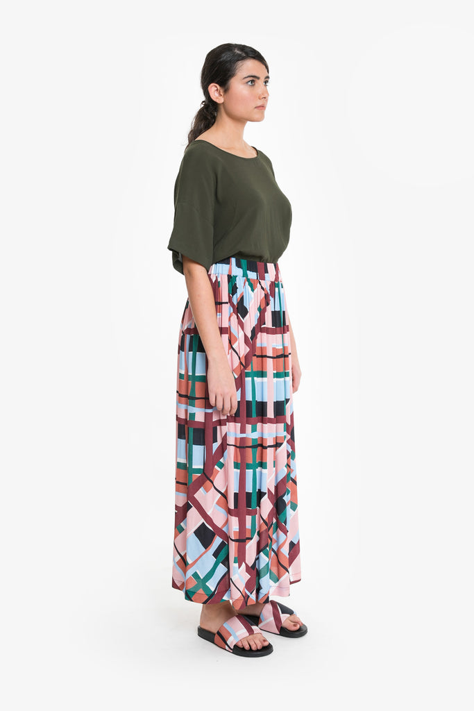 A loose fitting maxi-skirt in a bold original Obus check print, made from viscose