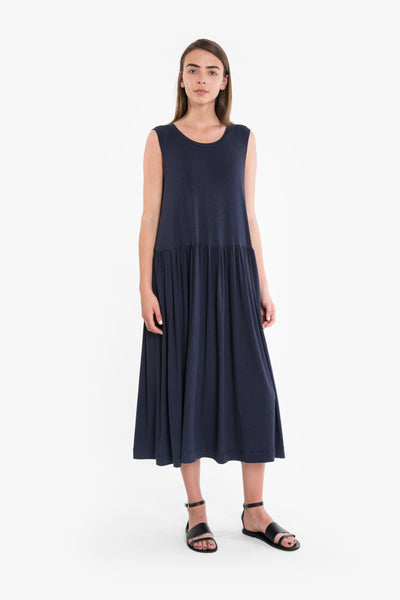 A sleeveless summer dress in navy jersey
