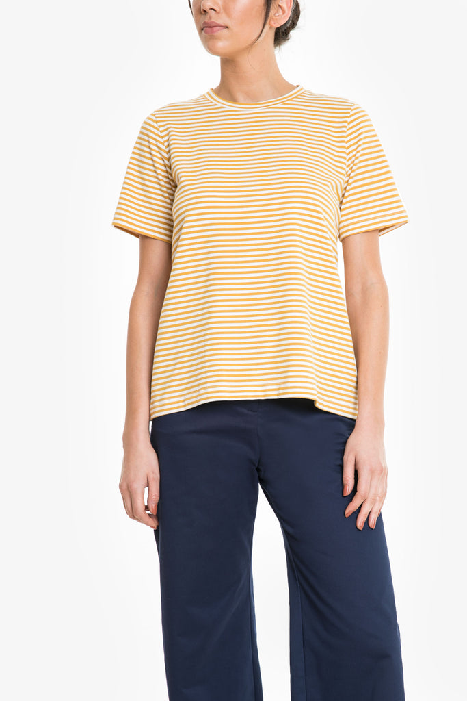 A yellow and white striped red tee in comfortable cotton jersey