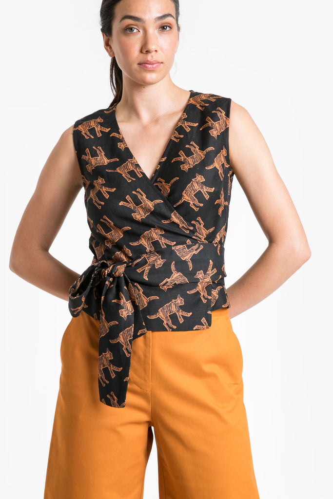 Wild Cat Wrap Top