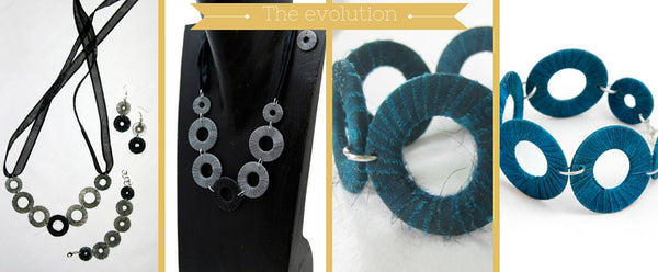 Evolution of Rags to Riches - Silk wrapped metal washers