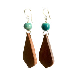 Angkor Timber and Ceramic Bead Earrings Penh Lane Egyptian Blue