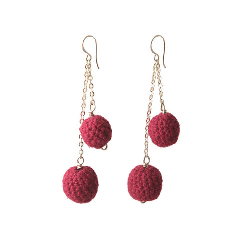 Crochet Chain Drop Earrings Earrings Khmer Creations Jewellery - Penh Lane