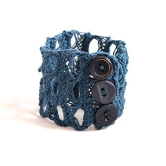 Penh Lane Broomstick Crochet Cuff Bracelet Steel Blue