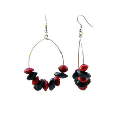 Diup and Love Seed Hoop Earrings Penh Lane Red and Brown