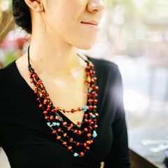 Mala Love Seed and Turquoise Mutli-Strand Necklace - Penh Lane Model 2