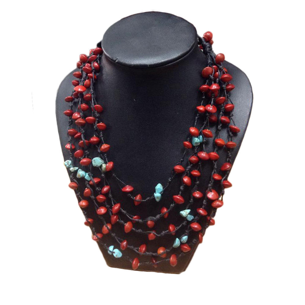 Mala Love Seed and Turquoise Mutli-Strand Necklace - Penh Lane