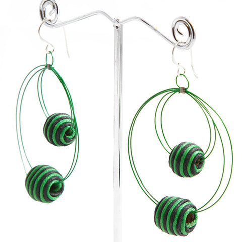 Orbit Hand-wrapped Cotton Bead Earrings