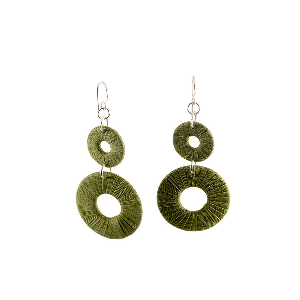 Penh Lane Rags to Riches Silk and Washer Double Drop Earrings Olive Green