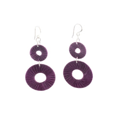 Penh Lane Rags to Riches Silk and Washer Double Drop Earrings Purple
