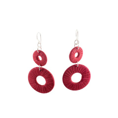 Penh Lane Rags to Riches Silk and Washer Double Drop Earrings Red